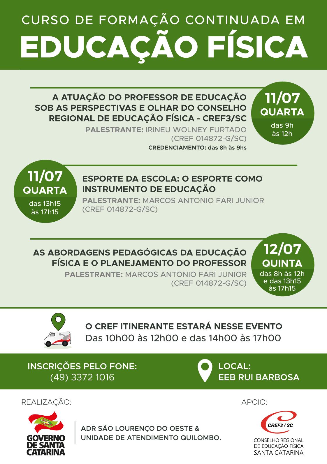 CREF3 SC apoia Curso de Formação Continuada em São Lourenço do Oeste ... 2323cd812832f